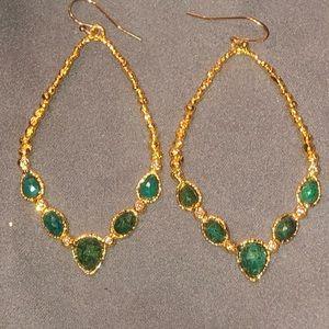 Alexis Bittar Hanging Gold Hoops w/ Green Stones
